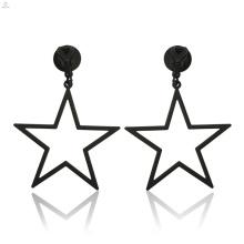 Moda oco out big black clip em declaração brincos pentagrama jóias