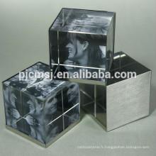 2015 en gros Crystal cube, impression en cristal, presse-papiers d'impression pour la décoration de bureau 3D laser
