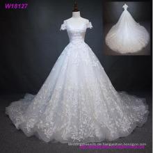 Weiß Full Lace Brautkleid Brautkleid benutzerdefinierte Größe 4 6 8 10 12 14 16 18
