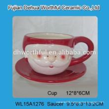 2016 Christmas design ceramic cup and saucer set