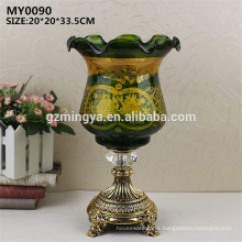 Fresh green color special design customized flower vase for home decoration