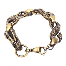 Locking Dragon Head Clasp Bracelet Ancient Plated Style Afician Fashion Men Alloy Bracelet
