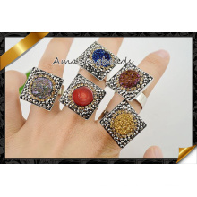 Venta al por mayor de fábrica Druzy Gemstone dedo anillos de joyería (FR004)