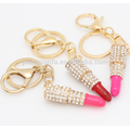 AOU Lipstick Shaped Hot Sale Unique Design Fashion Enameled Alloy Bag Keychain