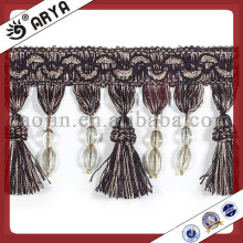 Schwarzer Vorhang Quaste Perlen Fransen