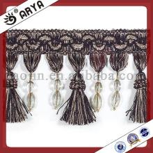 Franja de cortina negra con cuentas