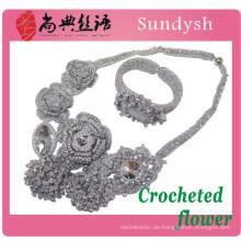 gewebte stricken Kristall Mode handgemachte Multi-Strang Draht gestrickte Rosenkranz Hand Perle gehäkelte Blumen Halskette