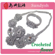 woven knit crystal fashion handmade multi strand wire knitted rosary hand bead crocheted flowers necklace