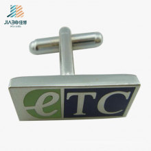 Customize Stamping etc Logo Enamel Rectangle Copper Metal Silver Cufflink