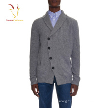 100% Cachemire 2016 hiver col châle hommes cardigan Pull