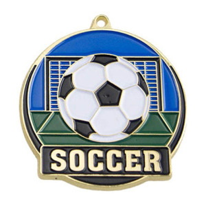 Gold Football Die Cast Medal With Ribbon