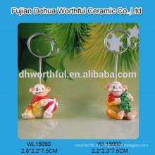 Monkey serie de resina de cerámica tarjeta de clip para la Navidad