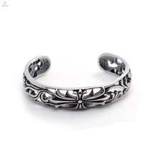 Cool Beautiful Hollowing carved flowers 316L Stainless Steel Skull Bangles Biker Bracelet Jewelry Gifts