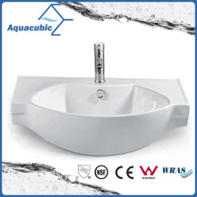 Semi-Recessed Bathroom Ceramic Cabinet Basin Hand Washing Sink (ACB2187)