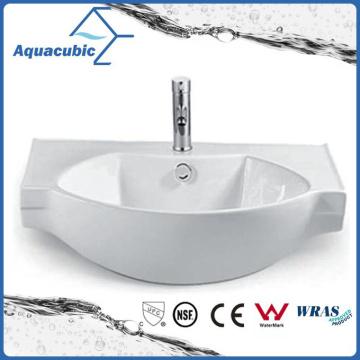Semi-Recessed Bathroom Ceramic Cabinet Basin Hand Washing Sink (ACB2187)