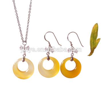 Art- und Weiseeinfachen Entwurfs-natürlicher Achat-Stein-Halsketten-Ohrring-Silber-Schmuck-Satz
