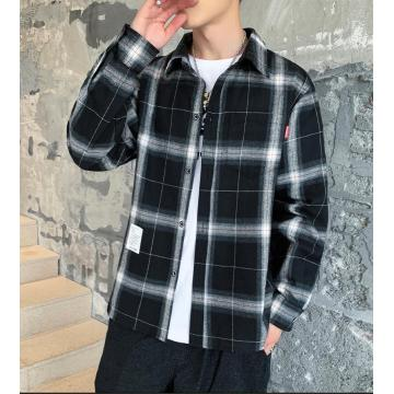 Осень новая рубашка Slim Fit с длинными рукавами для мужчин
