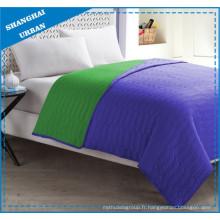 Ensemble de literie couvre-lit en polyester colorblock vert violet