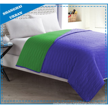 Purple Green Colorblock Polyester Coverlet Bedding Set