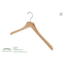 Natural do gancho de roupa por atacado com gancho superior de entalhes de madeira