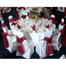 housses de chaises de visa polyester 100 %, housses de chaises de banquet/hôtel/mariage, ceinture en Satin