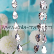 15*21MMCheap Christmas Tree Faceted Teardrop White Beaded Garland From China Factory