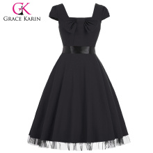 Grace Karin Manga Cuadrado Cuadrado Cuello Alto Estiramiento Negro Vintage Retro Vestido CL008951-1
