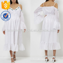 New Fashion White Cold-shoulder Midi Dress With Embroidered Flowers Manufacture Wholesale Fashion Women Apparel (TA5247D)