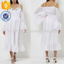 Новая мода Белый холодная плечо Миди платье с вышивкой цветов оптом производство модной женской одежды (TA5247D)