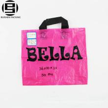 En gros de haute qualité fabricant personnalisé doux boucle poignée polyéthylène PE en plastique sac à provisions
