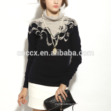 17PKCS149 2017 knit wool cashmere knitted lady sweater