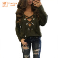 Mulheres Plain Color Full Sleeve Sexy Women Tops