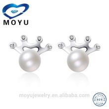 Boucle d'oreille réelle à perles réelles pour femmes féminines