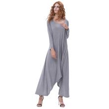 Kate Kasin Womens Casual Loose Langarm Rundhals Grau Unregelmäßiges Hem Kleid KK000711-2