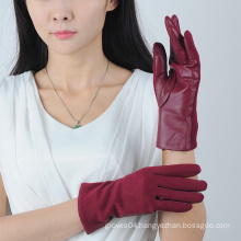 Premium Wine Red Women Wool loves with Sheepskin Leather on the Palm