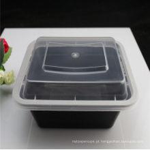 """Piquenique 8 """"X6"""" Retangular 2-compartimentos recipiente plástico seguro microondas com tampa"""