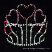Heart design colored stone pageant crown