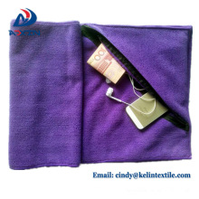 China toalla de gimnasio de microfibra de fábrica con bolsillo con cremallera