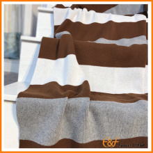 White Grey Brown Jacquard Classic Stripe Throw Blanket