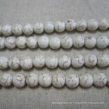 Facettierte weiße Howlite, Schneiden Türkis