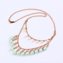 41678 xuping mulheres dupla camada de jóias 18 k cor banhado a ouro colar, bijoux bijouterie