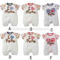 Hot sell soft plain baby bodysuit i love papa i love mama unisex white baby romper with cheap price