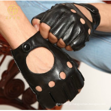 Luvas de couro pretas de couro dos homens para o verão