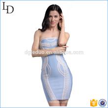 Conception occidentale avec des éléments chinois wrap robe fitness bandage robe en gros