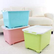 Caixa de recipiente de armazenamento de plástico colorido 40L com rodas (SLSN039)
