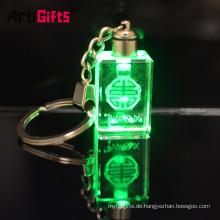 Kundenspezifisches glückliches Laser-Stichglasflaschen-Fotokristall führte helles keychain mit Charme