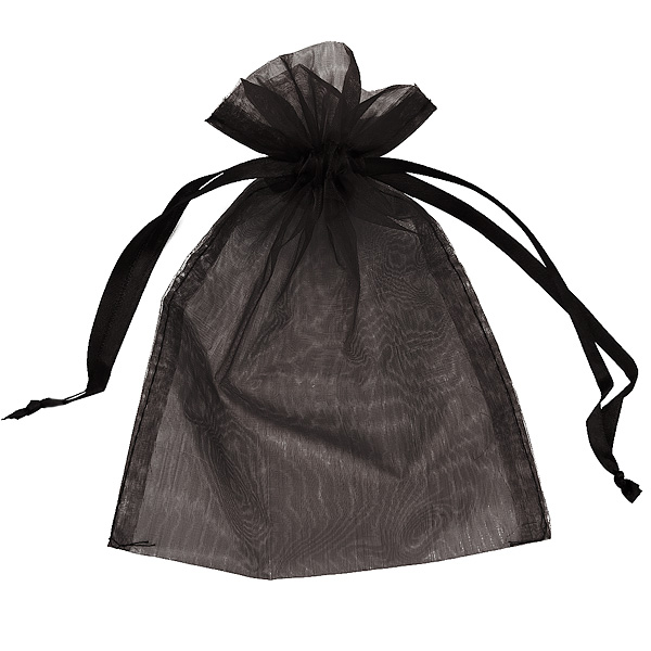 Customized Black organza bag with drawstring