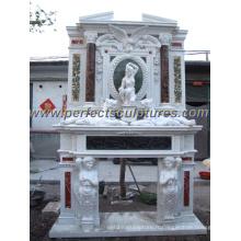Cheminée en marbre avec mantet en pierre sculptée (QY-LS261)