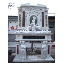 Marble Fireplace with Carved Stone Mantel (QY-LS261)