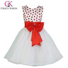 2015 Grace Karin sin mangas vestido de niña de flores baratos blanco CL007551-1